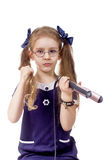 Girl hair curling. Girl hair hair curling white background isolated one Royalty Free Stock Image