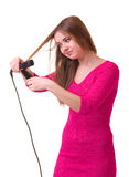 Girl with hair dryer Royalty Free Stock Photo