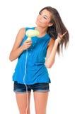 Girl with hair dryer Stock Photos