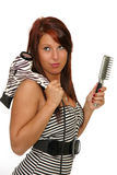 Girl with hair dryer and brush. Picture of the beautiful young woman with hair dryer and brush Royalty Free Stock Image