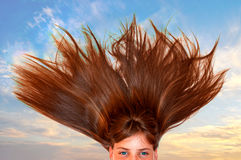 Girl hair floating through the air Royalty Free Stock Image