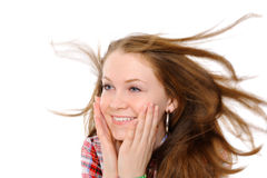 Girl with hair fluttering in the wind Stock Image