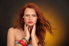 Girl with hair fluttering in the wind Royalty Free Stock Photo