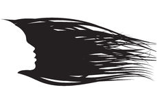 Girl hair silhouette Royalty Free Stock Image