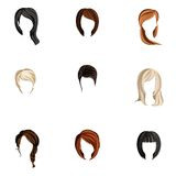 Girl hair style set. Girl head colored hair style silhouette icons set isolated vector illustration Stock Images