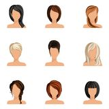 Girl hair style set. Young woman girl head avatars set with haircut styles isolated vector illustration Royalty Free Stock Photo