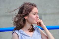 Girl with hair in the wind Stock Photography