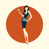 Girl hairdresser with dryer. Illustration of a girl hairdresser with dryer on an orange background Stock Images