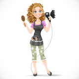 Girl hairdresser with hair dryer and hairbrush portrait Stock Photo