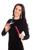 Girl hairdresser holding scissors and comb Stock Image