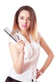 Girl hairdresser with scissors and comb Stock Photo
