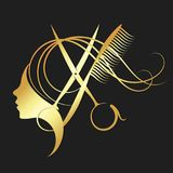 Girl and hairdressing scissors gold color. Girl and hairdressing scissors symbol for a beauty salon in gold color vector illustration