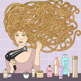 Girl with hairdryer. Vector illustration of beautiful blond girl blows dry hair with hairdryer royalty free illustration