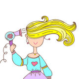 Girl with a hairdryer stock illustration