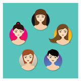 Girl Hairstyle. Different girl hairstyle for info-graphic stock or promotional media Royalty Free Stock Images