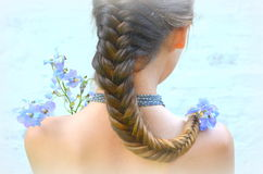 Girl with hairstyle fishtail Stock Photography