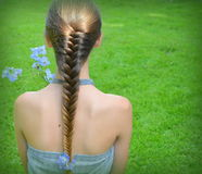 Girl with hairstyle fishtail Stock Images