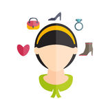 girl with hairstyle and icons of various women' Stock Images