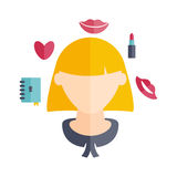 girl with hairstyle and icons of various women' Royalty Free Stock Photos