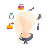 girl with hairstyle and icons of various women' Royalty Free Stock Photography