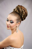 Girl with hairstyle and makeup Stock Image