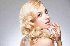Girl with hairstyle and makeup Royalty Free Stock Images
