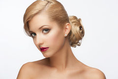 Girl with hairstyle and makeup Royalty Free Stock Photography