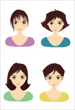 Girl Hairstyles. Beautiful girl face wearing different hairstyles Stock Photography