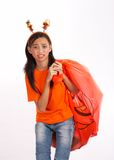 Girl with halloween bag Stock Photography
