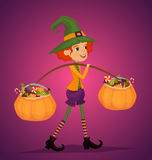 Girl in Halloween costume with hat magician. Cartoon girl in Halloween costume with hat magician comes with treats in pumpkin vector illustrations. Halloween kid Stock Images