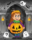 Girl in Halloween costume theme image 1 Stock Images