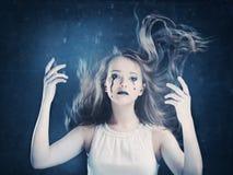 Girl,  halloween face art. On black background Stock Images