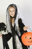 Girl In Halloween Outfit Holding Pumpkin Lantern. Portrait of a preadolescent girl in Halloween outfit holding Jack-O-Lantern isolated over white background Royalty Free Stock Photo
