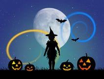Girl with Halloween pumpkins. Illustration of girl with Halloween pumpkins vector illustration