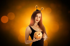 Girl in halloween style clothes Royalty Free Stock Photos