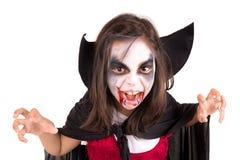 Girl in Halloween vampire costume. Girl with face-paint and Halloween vampire costume isolated in white Stock Image