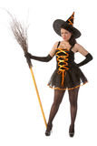 Girl in Halloween witch with broom Royalty Free Stock Photo