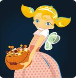 Girl and hallwoeen candy Royalty Free Stock Photography