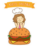 Girl with hamburger Stock Photos