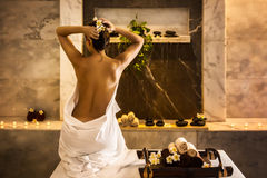 Girl-in-hammam Royalty Free Stock Images