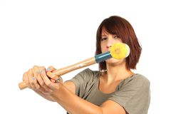 Girl with hammer Royalty Free Stock Image
