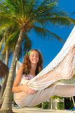Girl on hammock Royalty Free Stock Photos