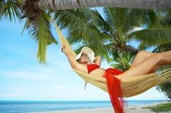Girl in hammock Royalty Free Stock Image