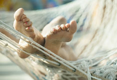 Girl in a hammock royalty free stock photo