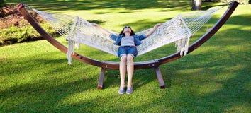 Girl in a hammock Royalty Free Stock Photo