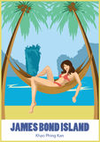 Girl in a hammock under the palm trees. James bond island, Thailand. Girl in a hammock under the palm trees. James bond island, Thailand stock illustration
