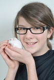 Girl with hamster Stock Photo