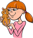 Girl with hamster cartoon Stock Photo