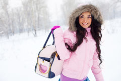 Girl with a hand-bag  outdoor Royalty Free Stock Image
