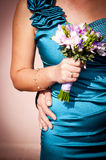 Girl Hand Holding Bouquet Stock Image